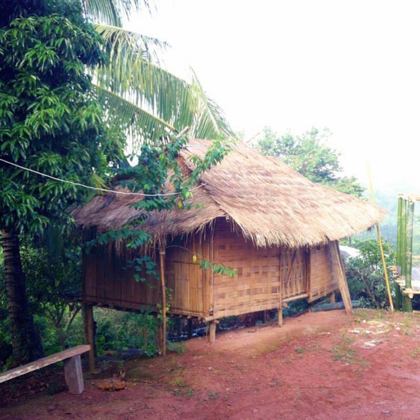 これが第1期で建てた山岳民族アカ族の竹の家